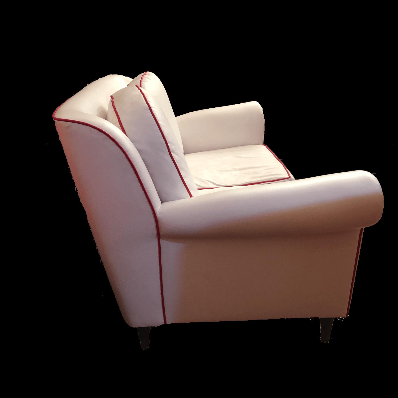 Divano in eco pelle bianco divani vintage bogys50s for Divani larghezza 150 cm